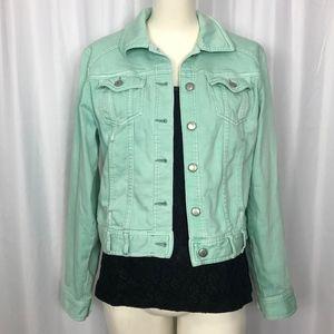 Used, Gap Sea Foam Green Denim Jacket Size Med M460 for sale